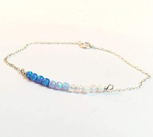FloweRainboW Zartes Damen Armband/Fußkette Mit Opal Steinen - Silber, Gold Armbändchen, Armkette