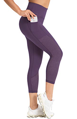 RAYPOSE Women Yoga Capri Pants Workout Leggings with Pockets High Waisted Running Mesh Capris Sport Tummy Control Fitness Leggings Gym Exercise Athletic Dark Purple-M