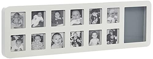 Baby Art My First Year Cornice Portafoto 12 Fotografie e Kit Impronta Neonato, per Raccogliere le Fotografie dei Primi 12 Mesi, Colore Bianco
