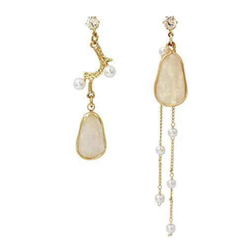Empty Orecchini Pendenti Lunghi Orecchini Asimmetrici di Perle di Moda Orecchini Geometrici con Nappe da Donna