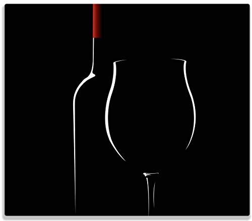 Wallario Herdabdeckplatte/Spritzschutz aus Glas, 1-teilig, 60x52cm, für Ceran- und Induktionsherde, Rotwein bei Nacht