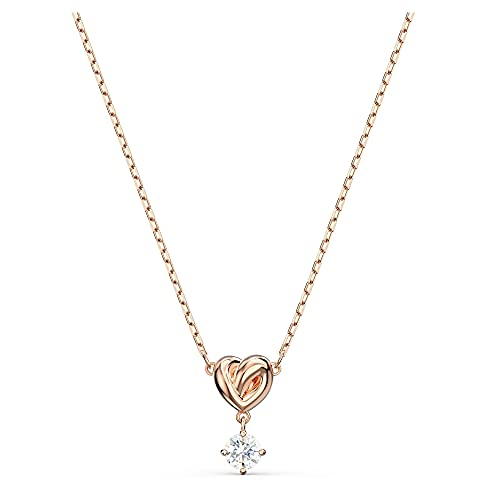 Swarovski Lifelong Heart Pendant Necklace, Rose-Gold Tone Plated Heart Pendant with White Crystals and Rose-Gold Tone Plated Chain