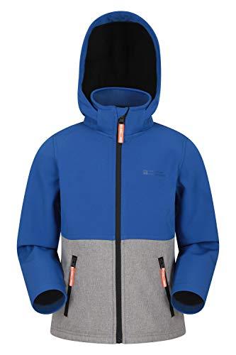 Mountain Warehouse Electron Wasserabweisende Kinder-Softshell – leichte Mädchen- und Jungen-Shell-Jacke, abnehmbare Kapuze, Reißverschlusstaschen – für unterwegs Kobalt 13 Jahre