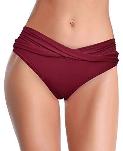 SHEKINI Mujer Bañador Sexy Bañador de Media Altura Cintura Plisada Pantalones de Playa (XL, Vino Tinto)
