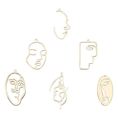 SUNNYCLUE 1 Caja 12Pcs 6 Estilos 18K Oro Rostro Humano Diseño Abstracto Pendientes Charms Hollow Open Back Bisel Colgantes para Mujeres Pendientes de Bricolaje Accesorios de Joyería Fabricación
