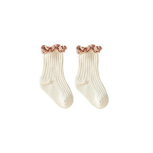 YiDaH 2 pares de calcetines de bebé de encaje para niña recién nacido, calcetines de bebé, calcetines sueltos de algodón peinado, calcetines para niños, 1-blanco crema, 0 mes