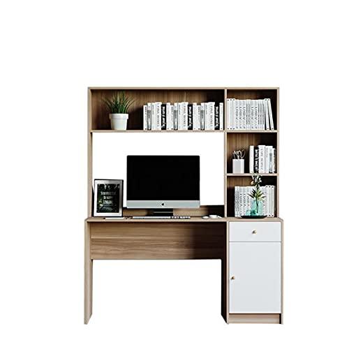 OKMJ Escritorio de computadora de Escritorio, Escritorio de Madera pequeño de Madera, Escritorio nórdico y librería Combinados en una, Oficina Central Multifuncional y Escritorio de Estudio