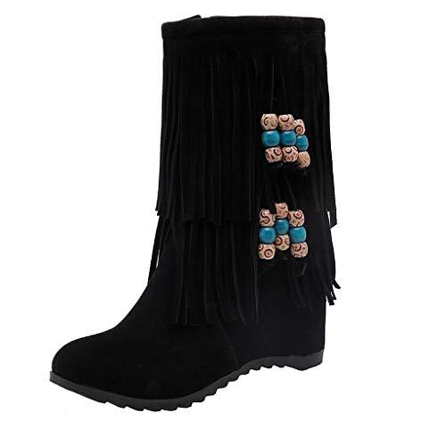 VJGOAL Bottes en Daim Cuir Boots Femme Talon Plat Mode Long Gland Bottines Fille Sweet Mode Chaud Peluche Courte Automne Hiver Chaussure Plate Beige Rouge Noir 35EU-43EU