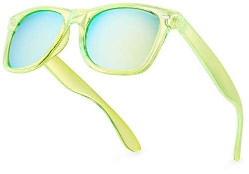 Retro Rewind Fashion Sunglasses for Women and Men – 70's & 80's Vintage Colorful Neon Translucent Frame Sun Glasses with Mirrored Lens