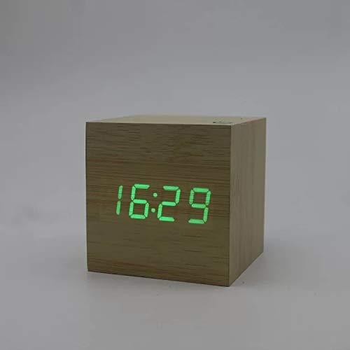 Electronic originele houten houten bel wekker buis geleid, digitale projectie wekker, dimbaar LCD-display, tijd alarm clock (Color : Green)