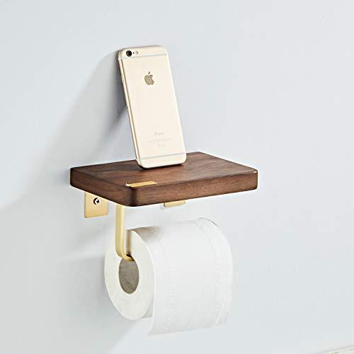 Kelelife Toilettenpapierhalter mit Hölzern Ablag, Wandhalterung WC Klopapierhalter Rollenhalter Papierhalter aus Edelstahl, gebürstetes Gold, 18 x 12 x 10 cm