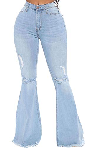 CutieLove Women's Ripped Jeans Bell Bottom Jeans High Waisted Hem Destroyed Denim Pants