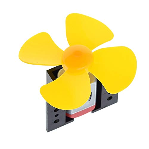 Electronic Module 1Set DC Micro 130 Gear Motor with Fan Blade Humble Propeller 3-6V for Arduino DIY Experiment +Motor Foundation Durable Power Converter (Color : Yellow)