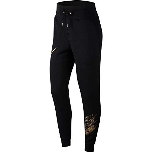 Nike Damen NSW Bb Shine Pantalon Hose, Schwarz (Black/Black/Metallic Gold), (Herstellergröße: Small)