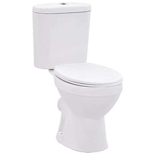 vidaXL Stand WC mit Spülkasten Soft Close Sitz Doppelmengen-Spülsystem Bodenstehend Toilette Standtoilette Badezimmer Keramik Weiß