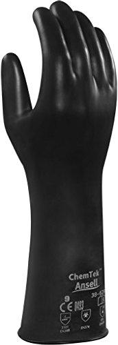 Ansell ChemTek 38-628 Butyl/Viton Handschuhe, Chemikalien- und Flüssigkeitsschutz, Schwarz, Größe 9 (1 Paar pro Beutel)