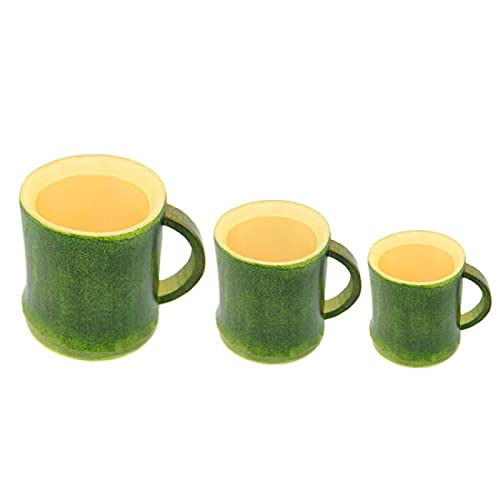 Haohaojia 3 Pieces Pack Natural Environmental Green Bamboo Cup,Tea Cup Handmade Eco-Friendly Home Water Cups, for Blooming Tea,Hot Beverage, Iced Tea,Drink