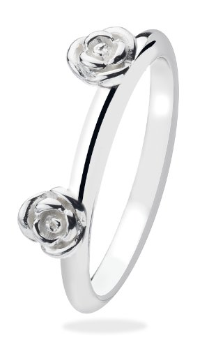 Virtue Silver StackableVRS2001 Silver 2 Flower Plain Band Virtue Ring - Size Q