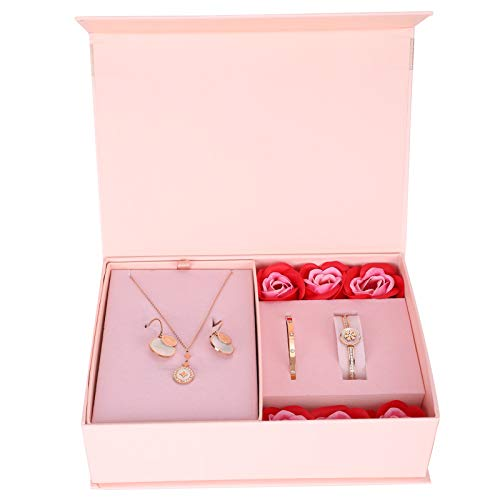 Lv. life Jewelry Set, Fashionable Necklace Earrings Bracelet Jewelry Kit with Gift Box Women Anniversary Valentine's Day Party Wedding Birthday