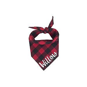 Willowear Personalized Red Buffalo Plaid Dog Bandana Custom Dog Scarf