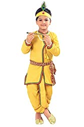 From the house of Arangers premium Indian ethnic, festive and party wear for kids boys. Specially handcrafted clothing for the perfect look and comfort for the festive season. Dress your baby in form of krishna with this elegant dress with required a...