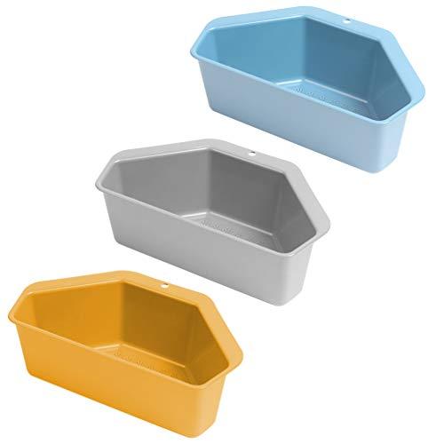 Cabilock 3 stycken diskbänksfilter korg triangulära hörn dräneringshylla lagerhylla tvål svamphållare låda organisatör för kök badrum slumpmässig färg