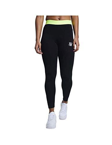 Siksilk Neon Tape damesleggings, zwart/fluor
