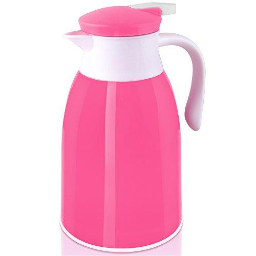 Isolierkanne Thermoskanne Kaffeekanne Teekanne 1 Liter große Farbauswahl tropfsicherer Ausguss 100% dicht - Pink