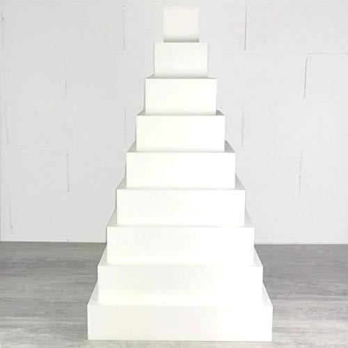 Lealoo Grande Pièce montée carrée Polystyrène Pro, 9 Etages, Haut 90 cm, Base 50 cm