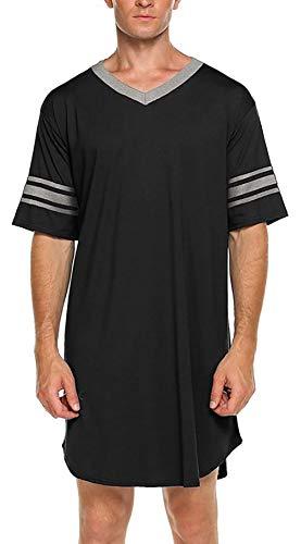 FEOYA Homme Chemise de Nuit à Manches Courtes Doux Pyjama Homme en Coton Col V T-Shirt Long Printemps Eté Noir Taille 2XL