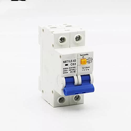 LUOXUEFEI Disyuntor Diferencial Interruptor Disyuntor Del Interruptor De Alimentación 2P 20A 25A 32A 40A 50A 63Arcbo 30Ma