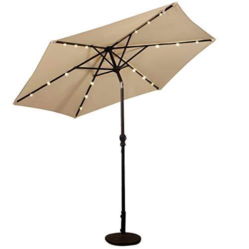 COSTWAY Ø270cm LED Sonnenschirm, Gartenschirm Marktschirm mit Solar-Beleuchtung, Terrassenschirm Sechseck, Kurbelschirm Strandschirm Ampelschirm, Hängeschirm Farbwahl