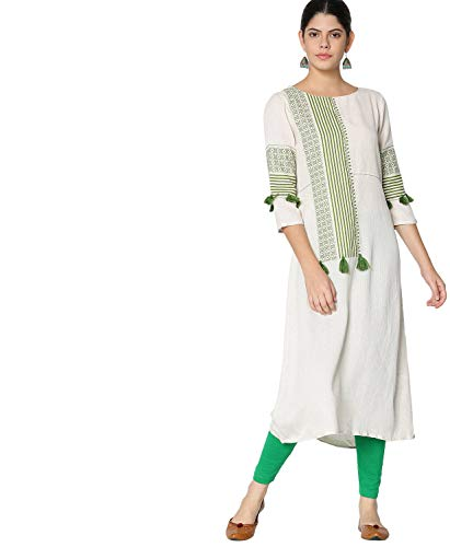 Morpankh By FBB A-Line Embroidered Kurta Green