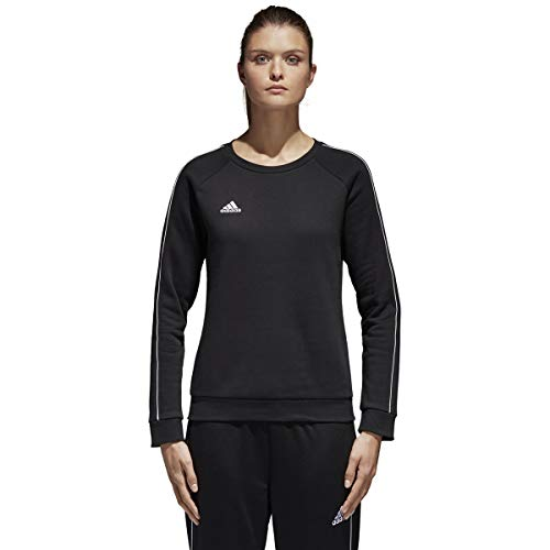 adidas Women's Must Have Badge Of Sport Crewneck Sweatshirt (Black White Logo, X-Large)