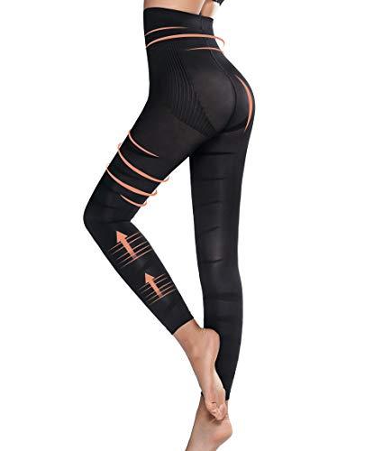 MISS MOLY Shaping Bauchweg Leggings Slimming Leggins Anti Cellulite Hose Leicht Figurformende Shapewear Sexy Strumpfhose Kompression Hohe Taille Kompressionsstrümpfe Lang Krampfadern Übergrößen