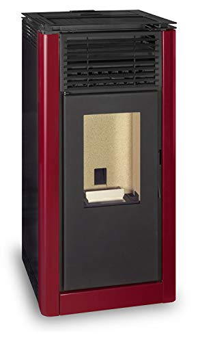 Ferlux - Estufa pellets (pellets de 12 kW), color rojo imperial