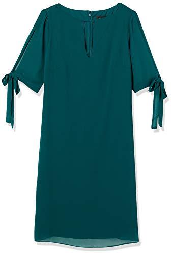 Amazon-Marke: TRUTH & FABLE Damen Chiffon-Kleid mit A-Linie, Grün (Green), 32, Label:XXS