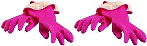 Casabella Premium Waterblock Cleaning Gloves - 2 Pair (4 Gloves) Pink - Large