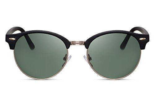 Cheapass Gafas de Sol Negras Redondas Lentes Verdes UV 400 Vintage Festival Accesorios para hombres y mujeres