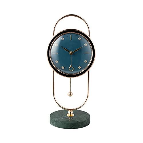 GUOQI Modern spiselklocka, dekorativ klocka, tyst urverk, marmorbas, metallpendel, kopparpläteringsprocess, lämplig för vardagsrum, studierum, kontor, etc. blå