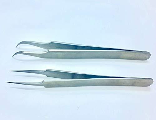 Olax 2X Pince à épiler de qualité chirurgicale pour Extension de Cils, 11cm, 12cm