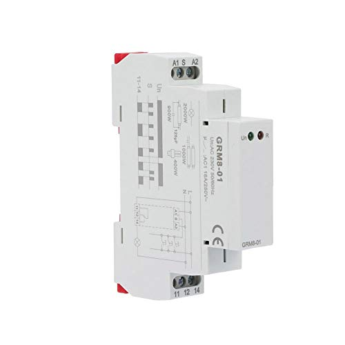 Mugast GRM8-01 Din Rail Relé de impulso electrónico Relé de bloqueo Relé de memoria con indicadores LED, rendimiento estable, CA 230 V