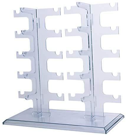 POFET Organizador de gafas de sol de acrílico de doble fila, soporte para gafas de sol, soporte organizador (transparente)