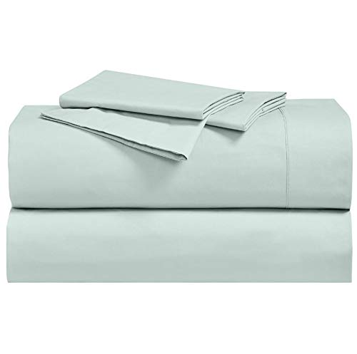Crisp, Breathable and Lavishly Soft 100% Long Staple Cotton Adjustabel Bed Sheets Split King; Rich Sea 300 Thread Count Percale Weave Featuring 15' Pockets