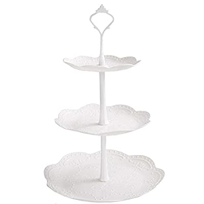 XLSTORE 3 Tier Cupcake Stand, Plastic Tiered Se...