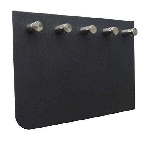 Melingo Schlüsselbrett mit fünf Edelstahl Schlüsselhaken in antrahzit Feinstruktur, asymmetrisch