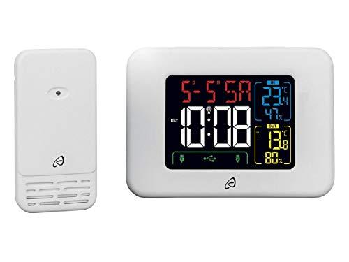 Auriol Estación meteorológica inalámbrica con recomendación de ventilación para interior y exterior, función de despertador, incluye aviso de heladas, color blanco