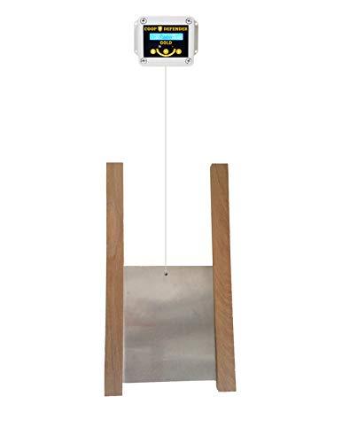 Coop Defender Gold Automatic Chicken Coop Door Kit | Opener with Timer and Light Sensor | Vertical Hen House Pop Hole Door | Waterproof Indoor/Outdoor (Oak Wood)