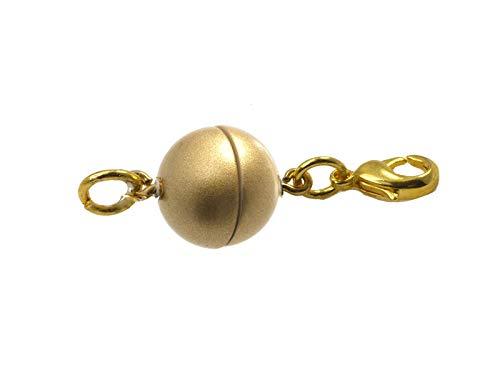 Magneetsluiting rond 8 mm, met roestvrij stalen karabijnhaak en oogje, reparatie van kettingen en sieraden 3 Stück 10mm Goud mat