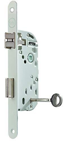Yale Y75 - Cerradura empotrable con llave, reversible, color blanco, certificado NF nivel 2, cabezal redondo y eje de 40 mm para puerta de dormitorio